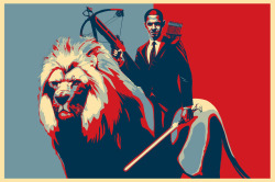 Obama Riding a Lion (Variant) by Jason Heuser
