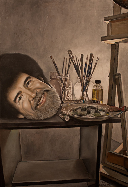 Still Life with Bob Ross, Brushes, Paint, Little Trees, and an Easel 13in x 19in Oil on Panel (For a Bob Ross themed group show at Screaming Sky Gallery in Portland)