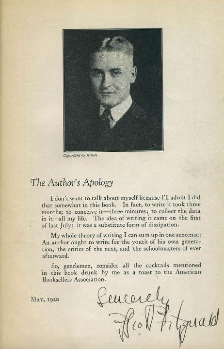 "Reblogging theparisreview:  Happy Birthday, F. Scott Fitzgerald! Signed ""Author's Apology"" from This Side of Paradise on ABE Books going for $45,000."