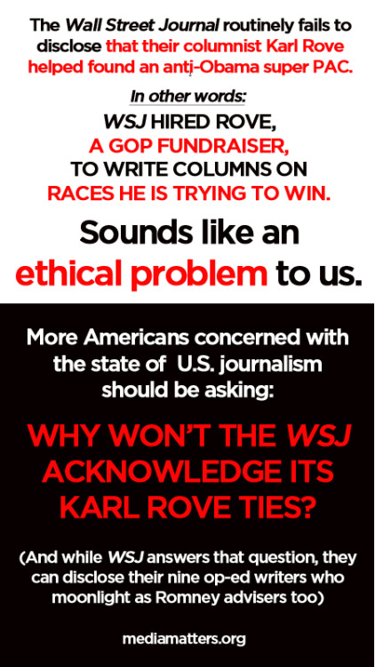 mediamattersforamerica:  Why won't the WSJ acknowledge its Karl Rove ties?