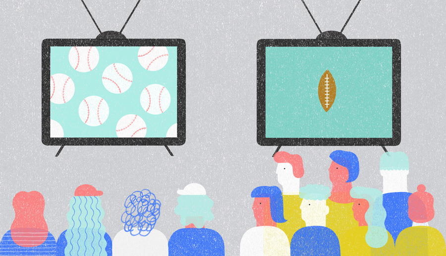 Should baseball learn to be more like football? (Illustration by Jing Wei | Column by Jonathan Mahler on Bloomberg View)