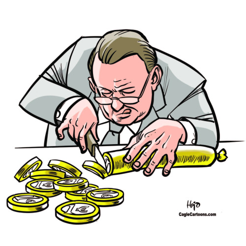Slicing the Euro sausage….thinner and thinner and thinner…… Cartoon byHajo de Reijger of The Netherlands