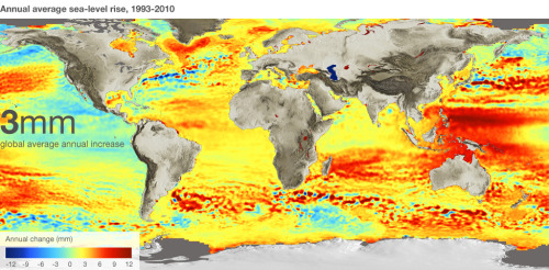 Satellites trace sea level change