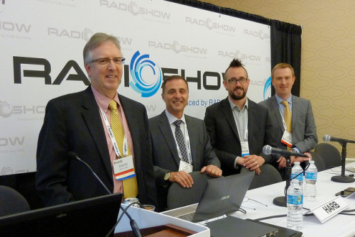 Hybrid Radio Panel, NAB Radio Show on Flickr.I had the great opportunity to sit on this panel and give a presentation of our ongoing work with TagStation (our cloud-based hybrid data services product) and the hybrid radio smartphone apps.  Pictured are: David Layer (NAB), Joe Harb (Quu), Ben Husmann (TagStation), Nick Piggot (Radio DNS). Photo by NAB.