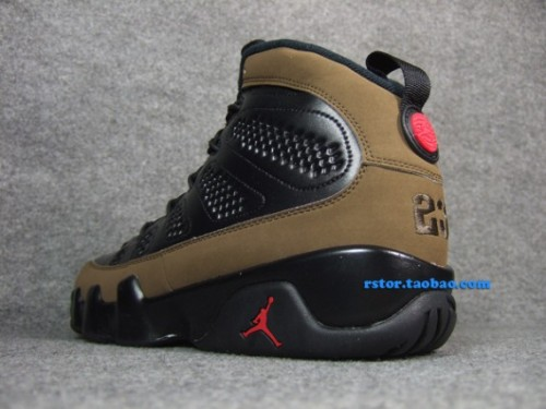 Air Jordan IX - Olive Black leather uppers with Olive suede mudguard.  classic feel, definitely one of the better IXs.  click here for more pics, and grab these Nov. 17th Related articles Video: Air Jordan 9 (IX) Olive 2012 Retro (sneakerfiles.com)