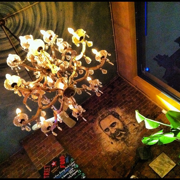 #lighting #bar #london #light #thatmfeeling #plant #face #chandelier #room #brick #club #cubana #waterloo  (Taken with Instagram)