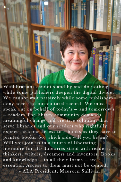 "libraryadvocates:  ""We librarians cannot stand by & do nothing while some publishers deepen the digital divide."""