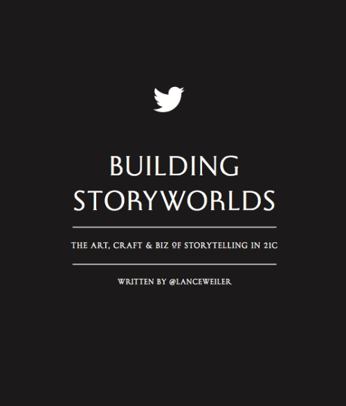 "Building Storyworlds - the art, craft & biz of storytelling in 21c  is an ongoing prototype and story R&D (research & development) project created by Lance Weiler. The goal of the project is to develop an open resource that experiments with the notion of storytelling in the 21st Century. The prototyping is centered around a book that was written in tweets. Using the limitations of twitter, each page of the book was written in a 140 characters or less. The 140 theme is then carried further as the book will be released in a 140 copy run. An experiment in scarcity and abundance, each page of the book says ""set this book free please retweet.""  Elements of the book form the foundation of the course that Weiler teaches at Columbia University. The goal of this blog is to extend both the class and the book, in an attempt to develop an open resource centered on storytelling in the 21st Century. In addition, a series of experiments that strive to put theory into practice will be conducted each semester. Students and global collaborators will work together to  design, build, and produced an immersive storytelling experience. The whole process will be openly documented and released under a creative commons license in an attempt to gain a better understanding of what goes into creating immersive storytelling experiences. We welcome your thoughts, comments and suggestions as we are interested in finding global collaborators to take part in the ongoing prototyping and R&D efforts."