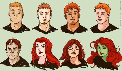 kylewithenvy:  Art of the Day: A catalogue of red:  Guy Gardner, Owen Mercer, Roy Harper, Wally West, Jason Blood, Kate Kane, Babs Gordon, Pamela Isley. - Kyle Rayner