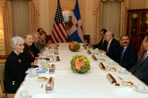 U.S. Secretary of State Hillary Rodham Clinton meets with Dominican Republic President Danilo Medina in New York, New York on September 23, 2012. [State Department photo/ Public Domain]