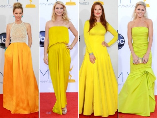 By far, our favorite Emmys trend was all the canary yellow and lemony goodness we saw on the red carpet. Here are four perfect examples of how to wear this controversial hue. What was your favorite look of the evening?  p.s. Be on the lookout for a few bright yellow pieces we have coming for spring!