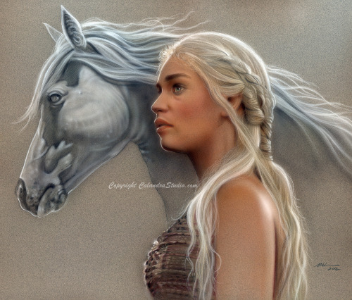"gameofthrones:  ""Khaleesi's Dream"" MIchael Calandra, Airbrush and colored pencil on paper 18x22"