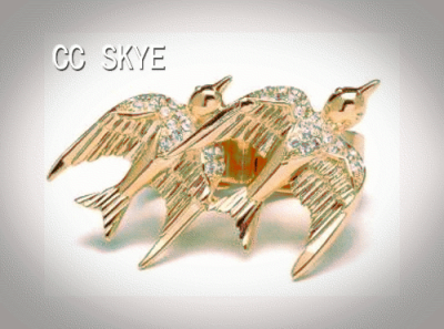 Two Love Sparrows in a Double ring by CC SKYE.