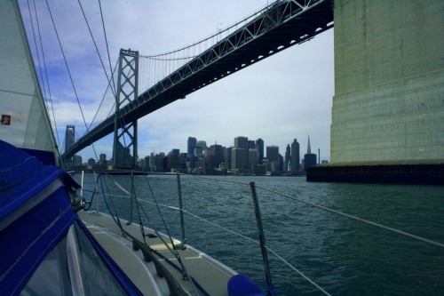 Sailing into San Francisco from under the Bay Bridge. What a great weekend.