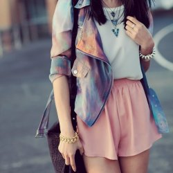 Love this outfit especially the Galaxy Print Jacket.