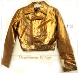 Vintage GOLD genuine leather biker motorcycle jacket for sale now…. http://www.ebay.co.uk/itm/280972102644?ssPageName=STRK:MESELX:IT&_trksid=p3984.m1555.l2649