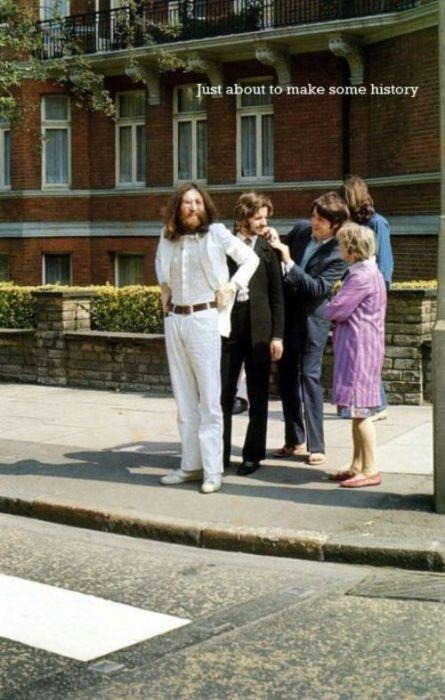 ellisbrewer:  The Beatles just about to use the Zebra crossing outside Abbey Road Studios, London