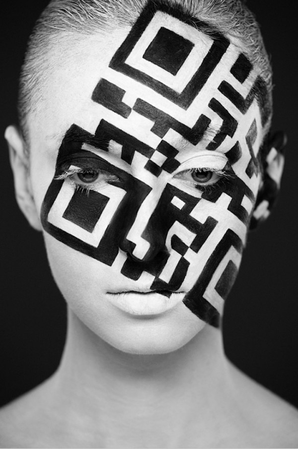 flavorpill:  A Strikingly Beautiful Face Painted in Black and White  A Strikingly Beautiful Face Until A QR Code Was Painted Onto It