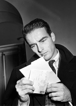 Montgomery Clift at the Savoy Hotel, c. 1950.