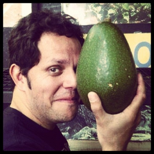 "#Chef Alastair McLeod has a big one! Apparently ""Avocado"" is Aztec for testicles…or so 1 of his followers says. Personally I enjoy them with a squeeze of fresh lemon, sprinkle of pepper & a spoon. #FoodPorn #HomeGrown #BigOnes #Organic ?? (Taken with Instagram)"