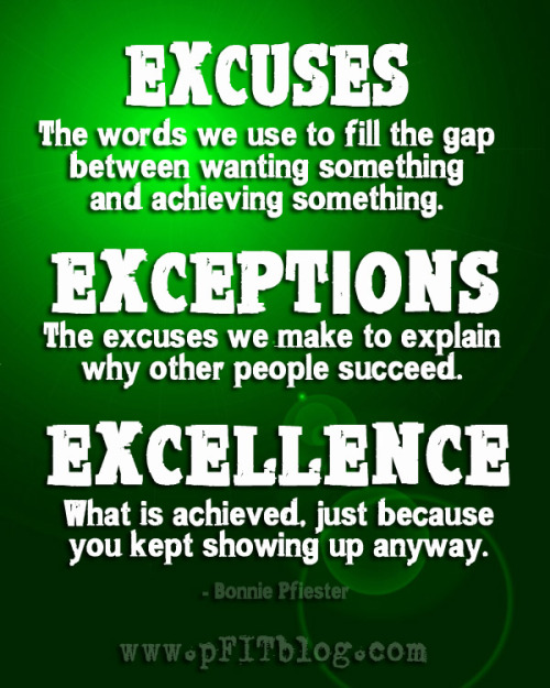 pursueyourpassion2012:  Truth.  Just….truth.   No more excuses!  Make that pledge to yourself today! You owe it to yourself to finally achieve your goals, and therefore STOP with the excuses!