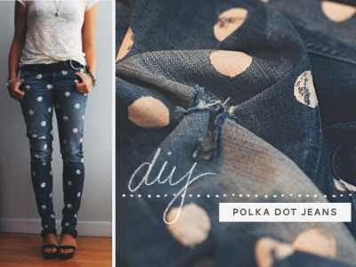 wattlebirdblog:  DIY dotty jeans via Breanna Rose