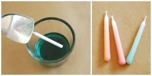 DIY ombre dipped birthday candles via The Proper Pinwheel