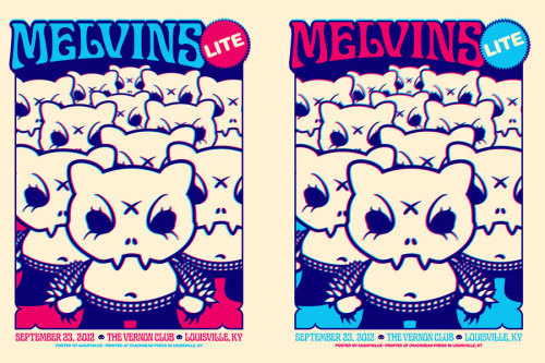 Melvins Lite! I LOVE doing posters for the Melvins. This time, I featured my character 'Shivs' in an eye-sickening off-register 3d print.  17x24  This 2-color print hurts your brainworms with 3-d glasses on. Half of the print run has the colors swapped. So some are more pink and some are more blue. It's a grab bag! See the other images to see what I mean.limited to 200 pcs.  Like all of the rest: Printed at Crackhead Press in Louisville, KY. http://www.angryblue.bigcartel.com/product/melvins-lite-louisville-2012