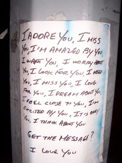 "Forget craigslist. Lamppost flyers in Berlin take on a whole new level. One recent note, for example, was posted by 29-year-old Maira Becke - ""A HORRIBLE ACCIDENT HAS HAPPENED."" To find out what that accident was, you'll have to read the rest of the story. http://bit.ly/NNnHHV"