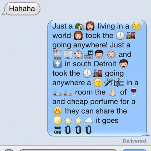 My brother and I are telling emoji stories to each other. I think I won. (Taken with Instagram)