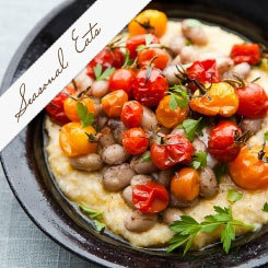 Creamy Polenta with Roasted Cherry Tomatoes and Fresh Shell Beans