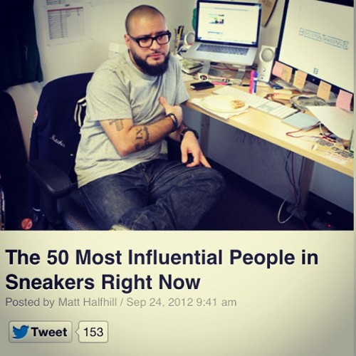 37th most influential person in sneakers today via @nicekicks & @complexmag. Good looks! #BAU  (Taken with Instagram)