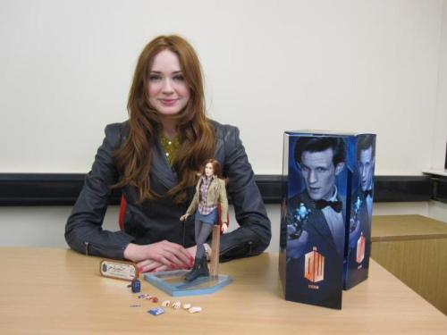 Karen Gillan with her Amy Pond action figure