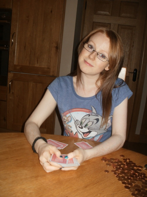 T'is a photo of me for a question thingermajig. I was playing poker with pennys, hardcore, right?