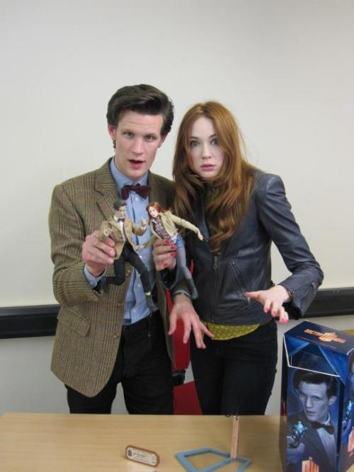 Matt Smith & Karen Gillan with their Doctor Who Action figures