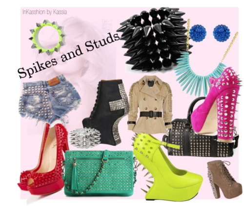 Spikes and Studs going strong by kassia-agostinho featuring black wedges www.kassiaagostinho.blogspot.com Christian Louboutin spiked pumps / Jeffrey Campbell black wedge, $325 / Jeffrey Campbell platform boots / Steve Madden steve-madden shoes / Cross body handbag / Pull&Bear studded bag, $49 / David Aubrey beaded necklace / Zara studded jewelry / Mi Lajki spike jewelry, $23 / Forever New pave jewelry, $14 / Bakers spike jewelry