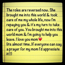 #Mom #Love #Faith #Strength #CancerFighter #ItsBeenALongJourney #Courage #Family #Ilovemymom #mixedemotions #lost #scared #NotReadyToLetGo #nothingcanevercomebetweenus  (Taken with Instagram)
