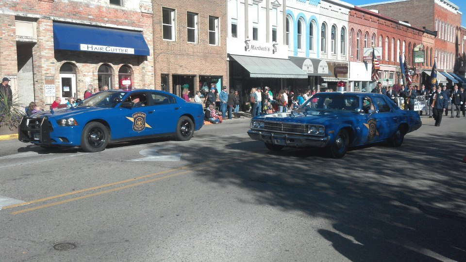 The Michigan State Police's 1975 Plymouth Grand Fury visited a southern Michigan city today for a very special event.