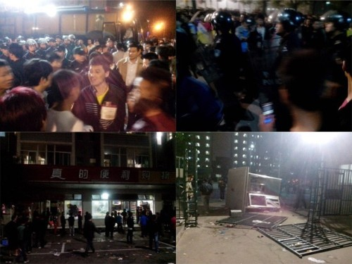 anarcho-queer:  2,000 Foxconn Worker's Riot In China About 2,000 Chinese employees of an iPhone assembly company fought a pitched battle into the early hours of Monday, forcing the huge electronics plant where they work to be shut down. Authorities in the northern city of Taiyuan sent 5,000 police to restore order after what the plant's Taiwanese owners Foxconn Technology Group said was a personal dispute in a dormitory that erupted into a mass brawl. However, some employees and people posting messages online accused factory guards of provoking the trouble by beating up workers at the factory, which employs about 79,000 people and is owned by the world's largest contract maker of electronic goods. The unrest is the latest in a string of incidents at plants run by Foxconn, the trading name of Hon Hai Precision Industry Co whose shares fell 1 percent on Monday in a broader market that rose 0.2 percent. Foxconn, which assembles Apple's iPhones as well as making components for other global electronics firms, has faced accusations of poor conditions and mistreatment of workers at its operations in China, where it employs about 1 million people, including children*.  i hope all you motherfuckers are enjoying your new iphone 5