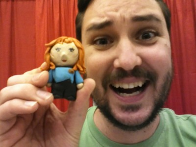 "200 POSTS! And Wil Wheaton @ Montreal Comicon! Let it be stated right here and now that I never EVER thought this site would go on as long as it has. There's always some amazing photos & content to share and I am so happy you're here, having fun (and lulz) with me :) In celebration, here's Wil Wheaton (with his self-described OVERLY ATTACHED GIRLFRIEND face) with a tiny handmade Beverly Crusher doll (""Hi Mom!"") at the Montreal Comicon last month. You're right, Wil…. she's soooooo CUUUUUUUUUUUUUTE~!! Photo from wilwheaton dot net."