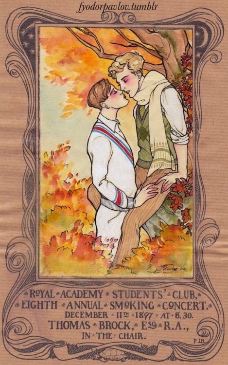 fyodorpavlov:  Autumnal school boy kisses. Inspired by Felix d'Eon. Is there a name for the haircut the blonde is sporting? It's such a staple of the homoerotic schoolboy genre in film and literature. I think we should call it the cut that sacked a thousand school masters.