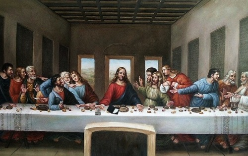 """The Last Supper"" is my favorite classic religious painting of white guys trying to figure out how to split a dinner bill 13 ways."