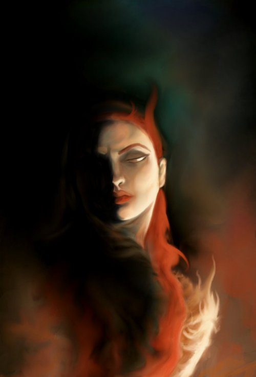 A quick painting of Melisandre for a friend of mine.
