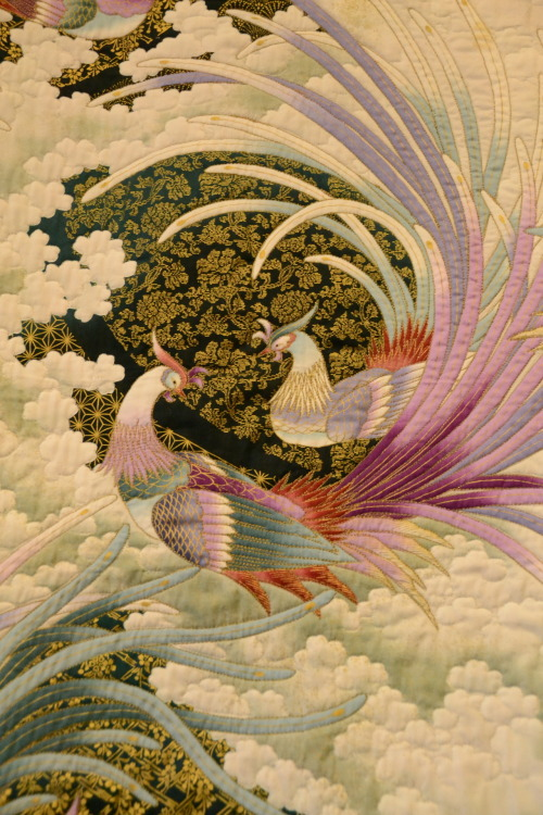 "astardanced:  Detail of ""Oriental Peacock"" Quilt by Dorothy Ewing. Photographed by Divine Ms. Moon."