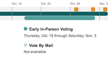 npr:  Infographic — ELECTION 2012: EARLY VOTING BY STATE George Mason University professor Michael McDonald runs the United State Elections Projects and expects about 35 percent of voters to cast their ballots early this year. Find out your state's voting schedule and registration deadlines here. — rachel
