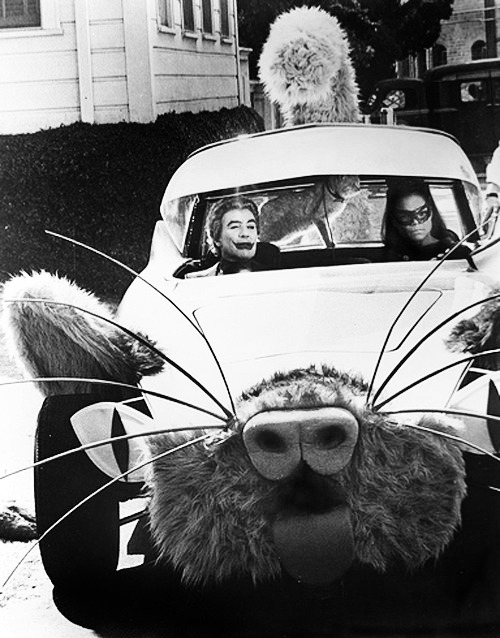"Cesar Romero and Eartha Kitt in the Kitty Car, ""Batman"" television series, 1960s"