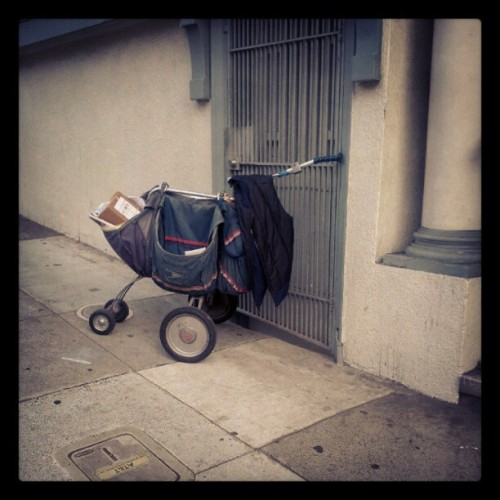 Orphan mail cart at Polk/Pine…no mail man in sight (Taken with Instagram)