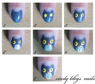 skin-beauty-fashion:  DIY - Owl nails.