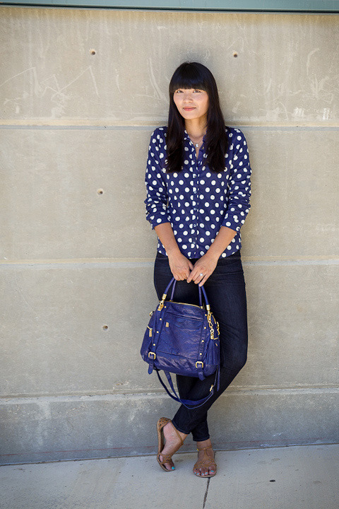 "2012. blue plate special. crinkle jersey shirt by boden. verdugo leggings by paige. dolce vita sandals. rebecca minkoff cupid satchel.this outfit worked double shifts on the weekend— i wore it on saturday night to a friend's art show, and i sported it on sunday on a photo shoot scout with M. going scouting with M is fun because it usually involves snacks, directions to ""stand here"", ""look this way"", and ""don't look this way"", and the small chance of a decent outfit photo.i bought the blouse from boden because i'm big on two things: navy blue and prints. it was my first boden order, and it arrived quickly with a note from johnnie, a matching bag for the blouse, and a cute little notebook filled with fashion did-you-knows? and ramblings. with such great service, i'm expecting prince harry to personally deliver the next package from boden (don't tell M).hope you had a fun weekend!the look 