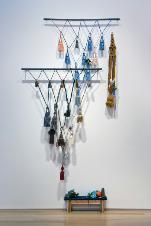 "Untitled (let it go), Rashawn Griffin, 2012 Tassels, wood, string 52"" x 58"" x 8"""